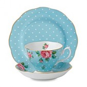 Royal Albert Polka Blue Vintage 3-Piece Place Setting