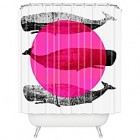 DENY Designs Elizabeth Fredriksson Whales Shower Curtain in Pink