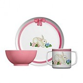 Portmeirion Botanic Garden Terrance Bunny 3-Piece Plate and Bowl Set