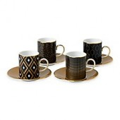 Wedgwood Arris Accent Espresso Cups and Saucers (Set of 4)