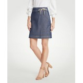 Chambray Wrap A-Line Skirt