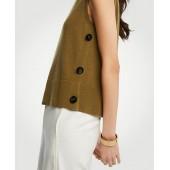 Side Button Sleeveless Sweater