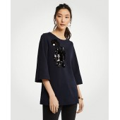 Sequin Floral Applique Sweatshirt