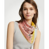Placed Floral Silk Scarf