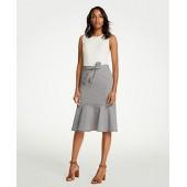Belted Seersucker Flounce Skirt