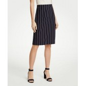 Pinstripe Ponte Knit Pencil Skirt