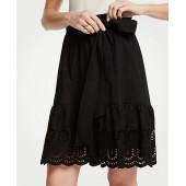 Eyelet Hem Flounce Skirt
