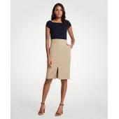 Pleated Waist Pencil Skirt