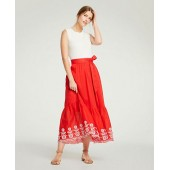 Floral Embroidered Tie Waist Maxi Skirt
