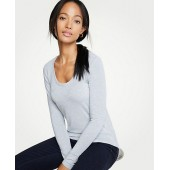 Stripe Scoop Neck Long Sleeve Tee