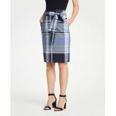 Madras Tie Waist Pencil Skirt