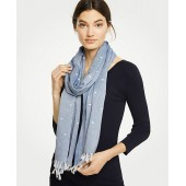 Chambray Embroidered Dot Tassel Scarf