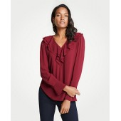 Ruffle V-Neck Blouse