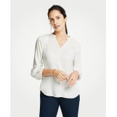 Smocked V-Neck Blouse