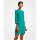 Doubleweave Fluted Sleeve Shift Dress