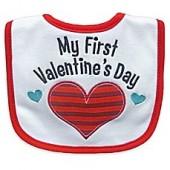Hamco My First Valentine's Day Applique Bib in Red/White