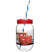Zak! Designs Disney Cars 19-Ounce Tritan Canning Jar Tumbler with Straw