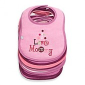 Frenchie Mini Couture 7-Pack I Love Bibs in Pink
