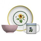 Portmeirion Botanic Garden 3-Piece Childrens Multicolored Plate and Bowl Set
