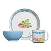 Portmeirion Botanic Garden Frog 3-Piece Plate and Bowl Set
