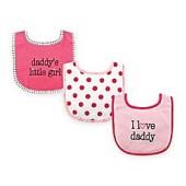 BabyVision Luvable Friends 3-Pack I Love Daddy Drooler Bib Set in Pink