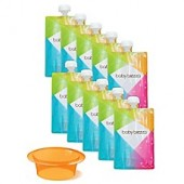 babybrezza 10-Pack 7 oz. Reusable Food Pouches with Funnel Filing System in Orange