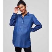 Maternity Chambray Tunic Shirt