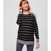 Maternity Striped Cold Shoulder Sweater
