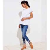 Maternity Floral Embroidered Skinny Crop Jeans in Light Stonewash