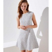 Checked Jacquard Flare Dress