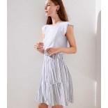 Striped Ruffle Full Skirt