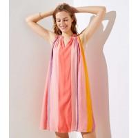 Watercolor Stripe Halter Swing Dress