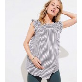 Maternity Lacy Striped Shirred Flutter Shell