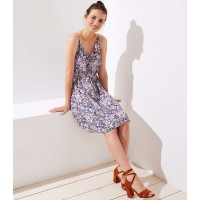 Floral Covered Button Strappy Cami Dress