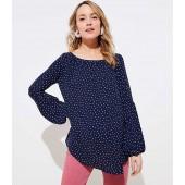 Maternity Dotted Lantern Sleeve Shirred Blouse
