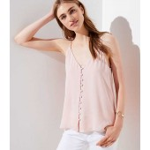 Covered Button Down Strappy Cami