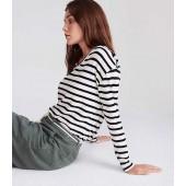 Lou & Grey Striped V-Neck Shirttail Top