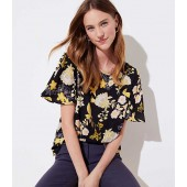 Golden Floral Covered Button Sleeve Top