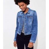 Pleated Distressed Denim Jacket