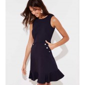 Pearlized Button Pocket Dress