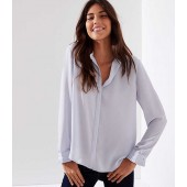 Pearlized Pleated Cuff Utility Blouse