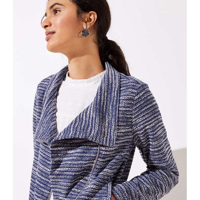 Striped Knit Moto Jacket