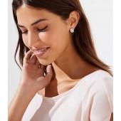 Pave Stone Oval Stud Earrings