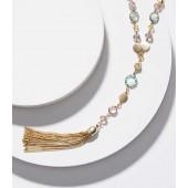 Stone Chain Tassel Necklace