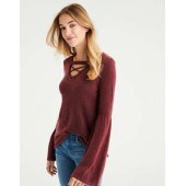 AE Strappy-Front Bell-Sleeve Sweater
