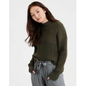 AE Cropped Rib Knit Pullover Sweater