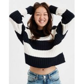 AE Rugby Stripe Rib Knit Pullover Sweater