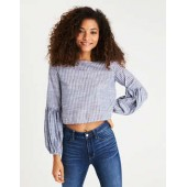 AEO Puff-Sleeve Striped Chambray Top