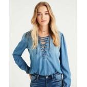 AE Lace-Up Ruffle Collar Denim Shirt