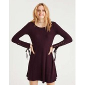 AE Lace-Up Sleeve Plush Pullover
